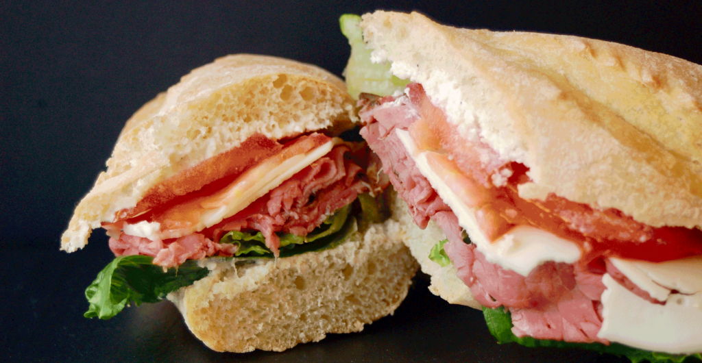 Roast Beef Provolone with Horseradish Sauce, Lettuce & Tomato