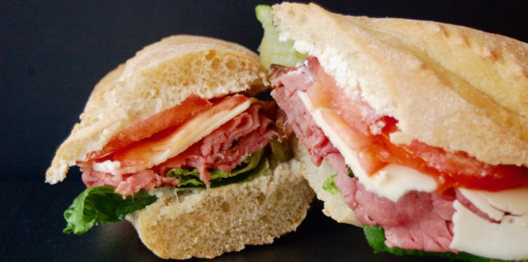 Roast Beef & Provolone with Horseradish Sauce, Lettuce and Tomato